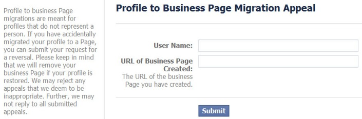profile to business page migration appeal